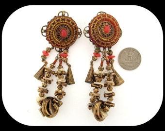 "Vintage HUGE Afghanistan Chandelier Carnelian Ornate Design Clip On EARRINGS 4"""