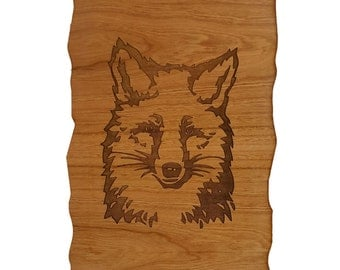 Fox - Engraved Wooden Wall Plaque - Cherry Wood