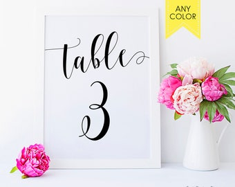 Rustic table numbers Calligraphy table numbers signs Custom Table numbers cards 4x6 5x7 Wedding numbers Classic numbers Rustic table decor