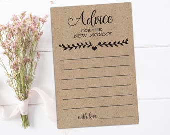 Rustic advice for the mommy to be Advice cards for new parents Rustic baby shower advice for parents to be Baby advice cards Kraft advice