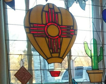 Zia Hot Air Balloon Stained Glass