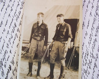 Antique Real-Photo Postcard (RPPC) of Two Young Male Recruits - Used