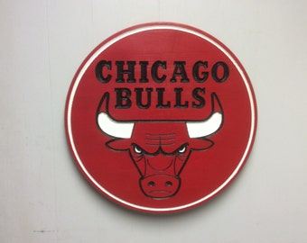 Chicago Bulls wood carved and hand painted Bulls logo sign,  Chicago Bulls wood sign, Chicago Bulls