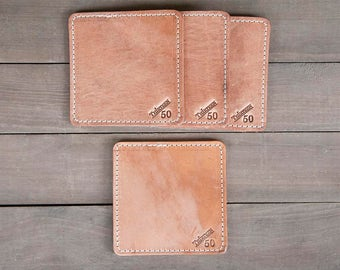 Old World Full Grain Leather Coasters Set of 4