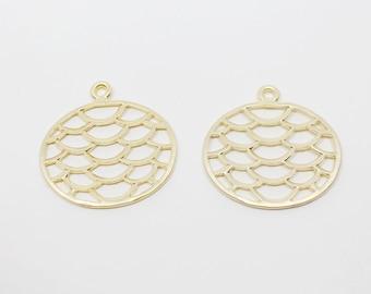 P0482/anti-Tarnished Matte Gold Plating Over Pewter/Circle Net Pendant/21x22mm/4pcs