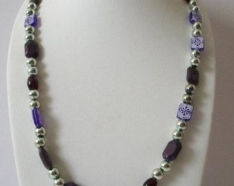 ON SALE Vintage Silver Purple Long No Clasp Necklace 102416