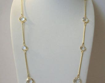 ON SALE Vintage EISENBERG Gift Worthy Gold Tone Clear Etched Glass Panels Necklace 5717