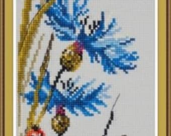 Cross Stitch KIT by OVEN - A walk in a field of Cornflowers - Flowers cross stitch - Gift idea; Cross stitch for beginners