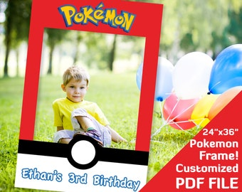 "Pokemon photo props frame, Pokemon party decorations, photobooth, ash ketchum Pokemon birthday favor 24x36"" printables Custom decor PDF file"