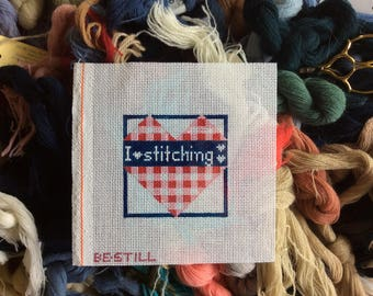 I Heart Stitching: a hand-painted canvas for needlepoint