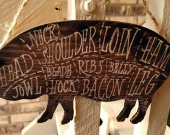 Vintage Wood Pork Cuts sign! Free-handed. Butcher chart. Butcher shop. Pig. Farm. Rustic. Antique. Brown.