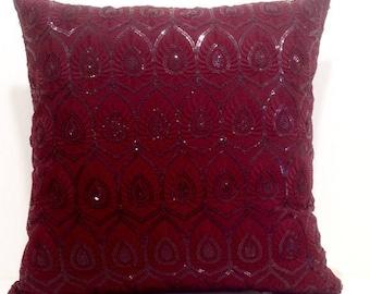 Sequin Pillow,Burgundy Pillow,Sequin Burgundy Throw Pillow Covers 18x18,16x16 Pillow Covers,Burgundy Cushions,Sequin Embroidered Pillow