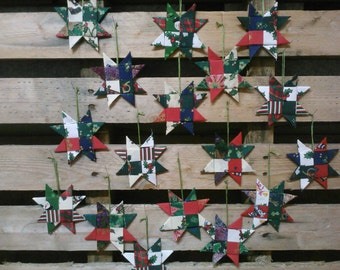 Folded Fabric Stars, tree/gift decorations