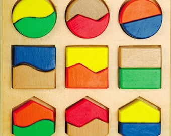 Geometric figures parts - Learning Toy - Montessori toddler toy - Toddler birthday gift - Wooden toy - Educational toy