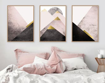 Trending Now Art,  Instant Download, Set of 3 Prints, Print Set, Mountains, Blush Pink, Gold, Scandinavian Art, Geometric, Bedroom Decor