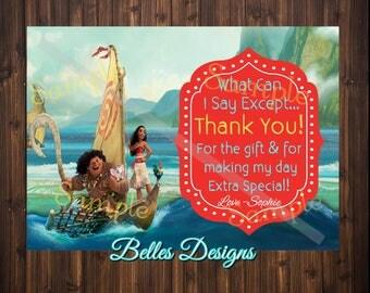 Moana Birthday Thank you card, Birthday Thank you card, Maui, DIGITAL FILE, Birthday Girl, Thank you notes