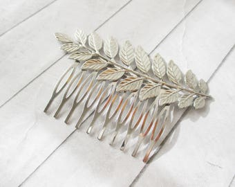 Shiny Silver Leaf hair comb Brass Laurel Leaf Hair accessories Wedding Bridesmaids Bridal Gifts for her Women Hair Accessories