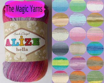 Sale Cotton yarn,ALIZE BELLA BATIK 100% pure cotton, natural, hypoallergenic yarn, beautiful batik colors,sport, light weight, 8ply, 14wpi