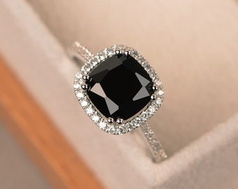 Black spinel ring, halo ring, cushion cut, black rings, gemstone ring, promise ring black, sterling silver