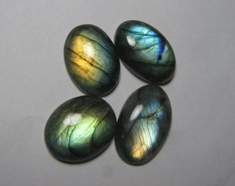 4 Piece Labradorite Oval shape loose semi precious gemstone cabochon size 17 x 26 to 18 x 29 mm approx code 7875