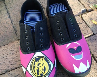 Power rangers shoe. Any color ranger, hand painted shoes, any size toddler, kids and adults sale 30 a pair