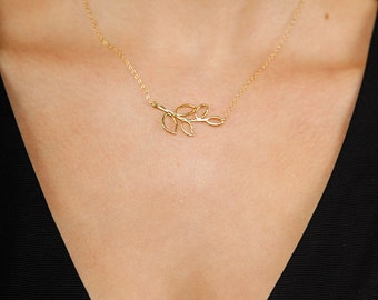 Olive Branch Necklace/ Gold Olive Branch Necklace/ Olive Branch Charm/ Olive Branch Gold Necklace/ Greek Necklace/ Olive Branch Pendant