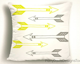 Archery Throw Pillow With Arrows, Yellow and Gray Pillow Covers, Trendy Throw Pillows