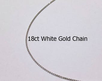 18ct 18K 750 Solid White Foxtail Chain Necklace for Pendant Jewellery - PS27