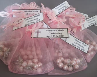 30 Organza Bag Pouches with Custom Name Tags for Mini Rosary Favors, Packaging for Mini Rosary Favors, Pink, White, Blue