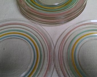 Vintage Plates with Colored Ring Pattern - Set of 6  Dessert / Luncheon Plates -6 1/4 Inch - Pastel Lines in Concentric Circles