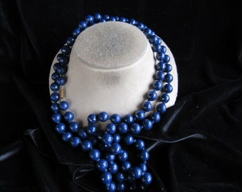 Vintage Long Navy Blue Beaded Necklace