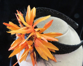 Vintage Hand Made Chunky Bright Orange Floral Feathered Head Band