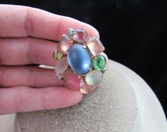 Vintage Multi Colored Glass Cab Stone & Iridescent Rhinestone Pin
