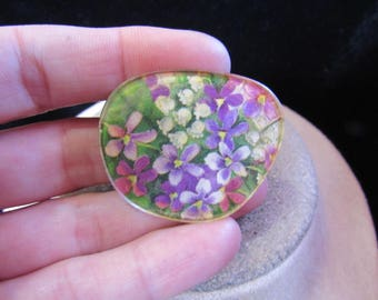 Vintage Multi Colored Floral Pin