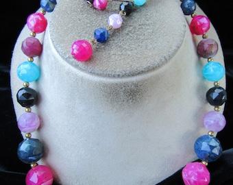 Vintage Signed Kramer Long Graduated Multi Colored Beaded Necklace