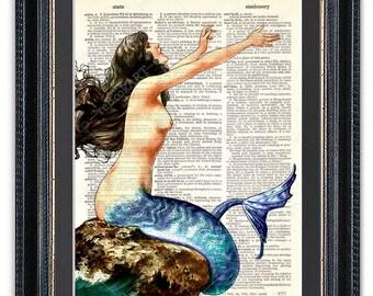 Mermaid, Dictionary Art Print, Mermaid Art, Mermaid Wall Art, Mermaid Poster, Mermaid Decor, Mermaid Print, Gift for Her