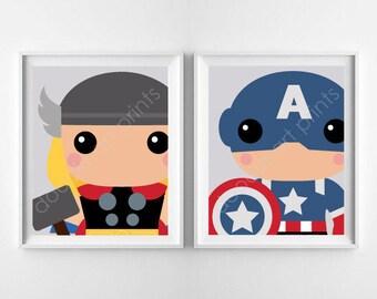 "Super Heroes Art Print, Avengers BUNDLE Prints, Captain America Thor, Boy Playroom Nursery Wall Art Decor, Digital Instant Download 8x10"""