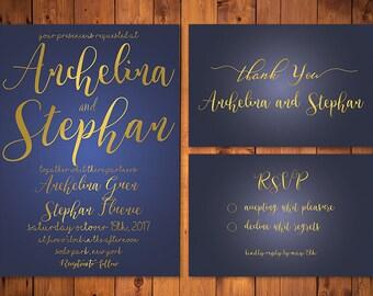 Blue & Gold Wedding Invitation Template , Navy Calligraphy Script Printable Invitation, Wedding Invitations