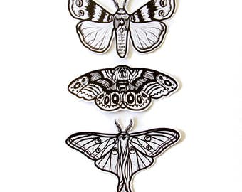 Moth Sticker Pack of 3 - Black and White Intricate Design - Nature - For Laptop, Scrapbooking, Decoration