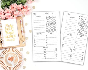 weekly tracker printable planner insert - Filofax personal - Kikki K Medium - print at home - planner refill