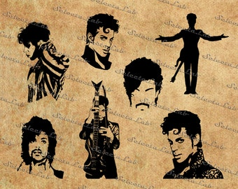 Digital SVG PNG Prince inspired, singer, music, purple rain, silhouette, vector, clipart, instant download