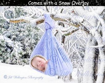 DIGITAL Winter Baby Boy Blue Sling Background, backdrop, for photographers, photography, photos, infants, babies, newborns
