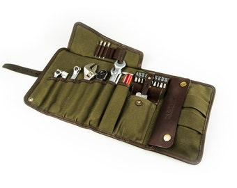 SALE 20%! Universal Tool Roll /Mens Tool Roll /Tool bag /motorcycle Tool roll /travel Bag twisting / Mens gift /Olive waxed canvas leather