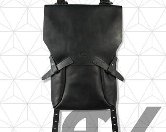 Black leather backpack  / Fashion backpack/ Minimal backpack / Mens Womens backpack / Black rucksack / Christmas gift / Urban backpack