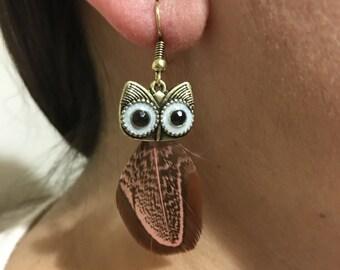 Earring, Owl earring, Feather earring, metal earring, Feathered earring,  dangle earring,  lighwight  earring, Gift for her
