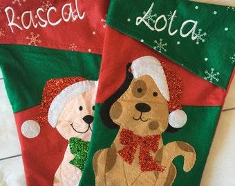 Custom Embroidered Pet Christmas Stocking - Cat stocking - Dog stocking - Pet Stocking - Dog stocking  cat name stocking - Pet Stocking