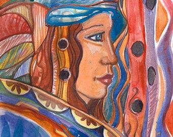 "Goddess series ""Brave Goddess""  Art Print of original watercolor"