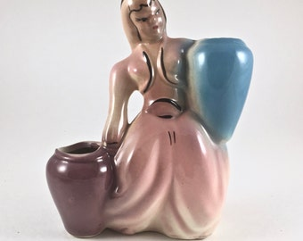 Figurine Vase, Woman Carrying Water Jugs, Vintage Figural Midcentury Ceramic Planter, Pink and Blue with Black Accents, Very Good Condition