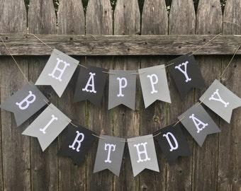 50 shades of grey birthday. Grey birthday banner. Boy birthday banner. Happy birthday banner.