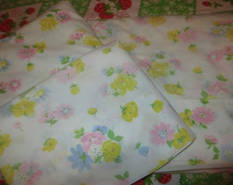 Vintage Floral Twin Sheet Set, Flat Sheet, Fitted Sheet, Pillow Case